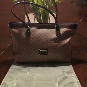 Brown with Burgundy  Trim Guess Bag